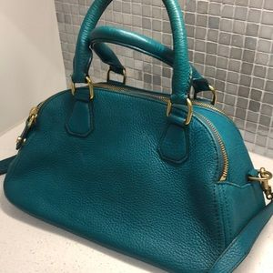 J.Crew Teal Leather Bowling Bag Purse